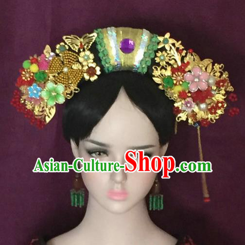 Traditional Chinese Qing Dynasty Imperial Consort Flowers Headwear Ancient Manchu Lady Hair Accessories for Women