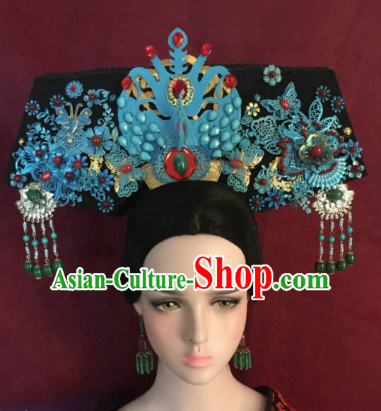 Traditional Chinese Qing Dynasty Imperial Consort Blue Headwear Ancient Manchu Lady Hair Accessories for Women