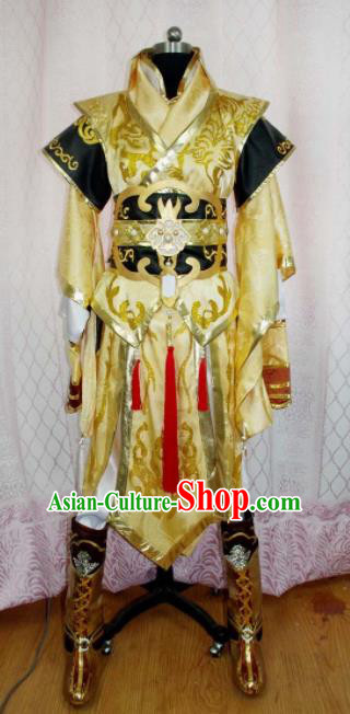 Traditional Chinese Cosplay Warrior Knight Yellow Clothing Ancient Swordsman Embroidered Costume for Men