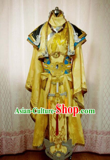 Traditional Chinese Cosplay Royal Highness Yellow Clothing Ancient Swordsman Embroidered Costume for Men