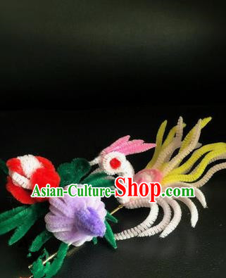 Traditional Chinese Ancient Qing Dynasty Velvet Phoenix Hairpins Handmade Palace Hair Accessories for Women