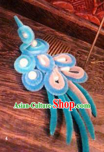 Traditional Chinese Ancient Qing Dynasty Blue Velvet Bird Hair Comb Hairpins Handmade Palace Hair Accessories for Women