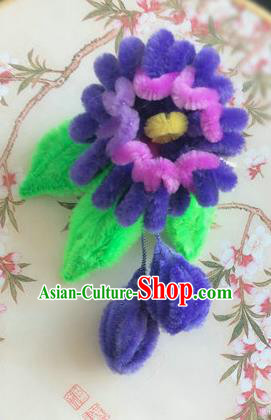 Traditional Chinese Ancient Qing Dynasty Purple Velvet Flowers Hairpins Handmade Palace Hair Accessories for Women