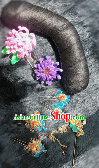Traditional Chinese Ancient Qing Dynasty Velvet Flowers Hairpins Handmade Palace Hair Accessories for Women