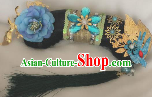 Traditional Chinese Qing Dynasty Imperial Consort Blue Peony Tassel Headwear Ancient Palace Manchu Hair Accessories for Women