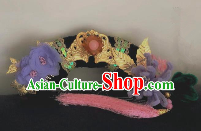Traditional Chinese Qing Dynasty Imperial Consort Purple Chrysanthemum Tassel Headwear Ancient Palace Manchu Hair Accessories for Women