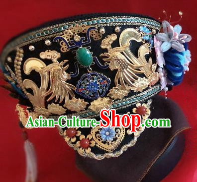 Traditional Chinese Qing Dynasty Imperial Consort Hat Headwear Ancient Palace Manchu Hair Accessories for Women