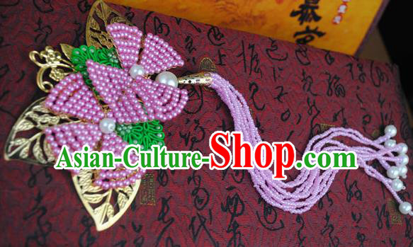 Traditional Chinese Qing Dynasty Pink Beads Tassel Hairpins Handmade Ancient Manchu Lady Hair Accessories for Women
