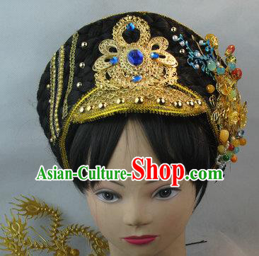 Traditional Chinese Qing Dynasty Manchu Imperial Concubine Hat Headwear Ancient Palace Lady Hair Accessories for Women