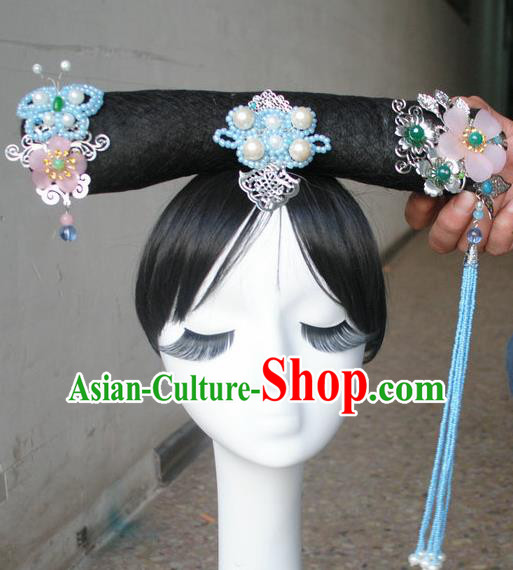 Traditional Chinese Qing Dynasty Manchu Princess Tassel Headwear Ancient Palace Lady Hair Accessories for Women