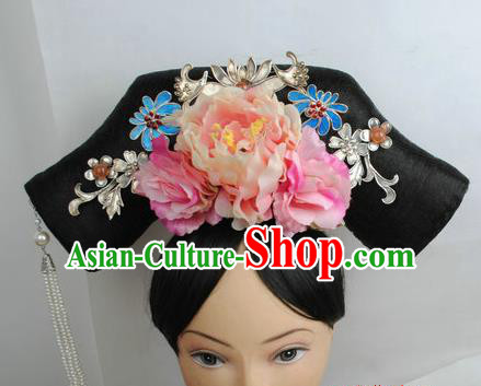 Traditional Chinese Qing Dynasty Manchu Princess Headwear Ancient Palace Lady Hair Accessories for Women