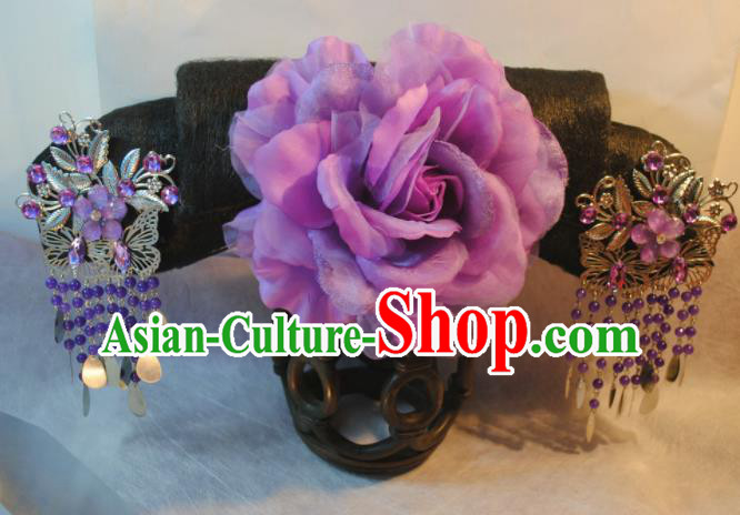Traditional Chinese Qing Dynasty Manchu Princess Purple Peony Headwear Ancient Palace Lady Hair Accessories for Women