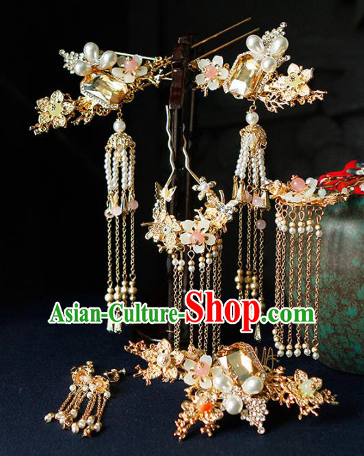 Traditional Chinese Wedding Hairpins Tassel Step Shake Handmade Ancient Princess Hair Accessories Complete Set for Women