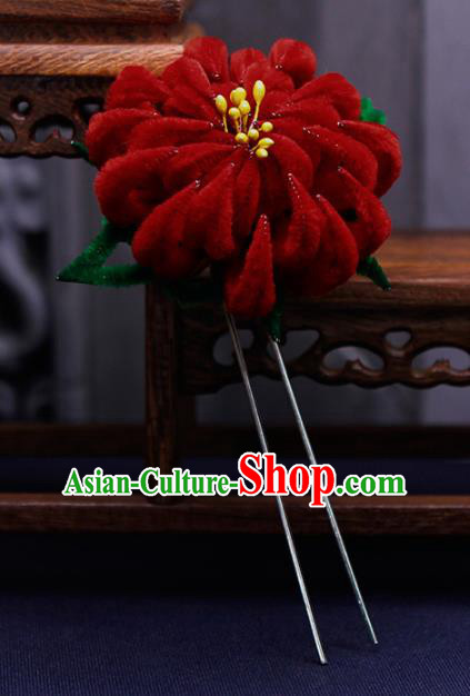 Traditional Chinese Handmade Qing Dynasty Red Velvet Chrysanthemum Hairpins Ancient Imperial Consort Hair Accessories for Women