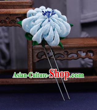 Traditional Chinese Handmade Qing Dynasty Blue Velvet Chrysanthemum Hairpins Ancient Imperial Consort Hair Accessories for Women