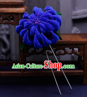 Traditional Chinese Handmade Qing Dynasty Royalblue Velvet Chrysanthemum Hairpins Ancient Imperial Consort Hair Accessories for Women