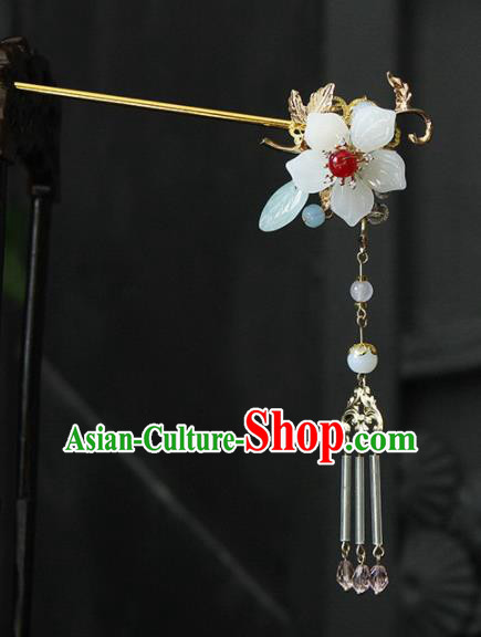 Traditional Chinese Wedding Tassel Step Shake Jade Flower Hairpins Handmade Ancient Bride Hair Accessories for Women
