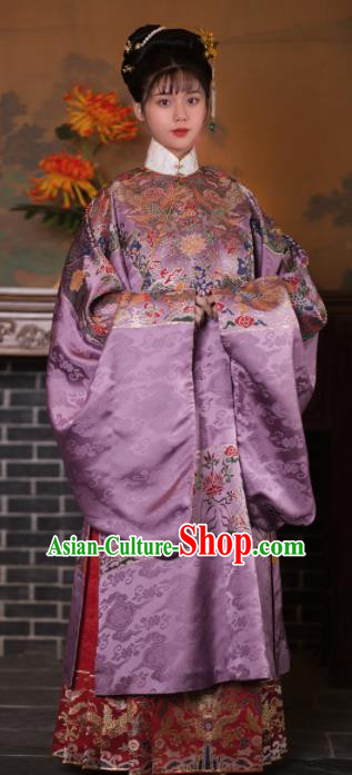Chinese Ancient Ming Dynasty Princess Purple Hanfu Dress Traditional Court Lady Embroidered Historical Costume for Women
