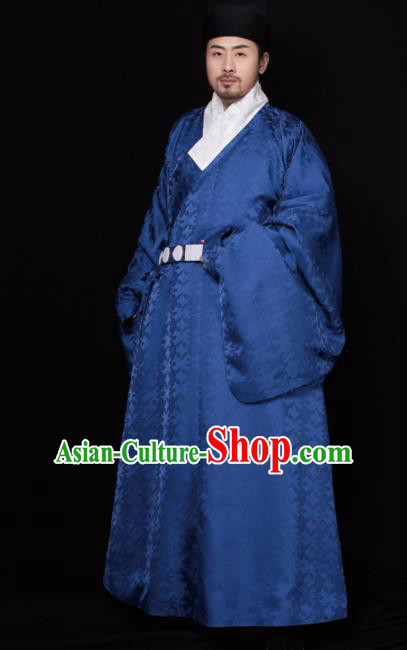 Chinese Ancient Taoist Priest Royalblue Robe Traditional Ming Dynasty Minister Embroidered Historical Costume for Men