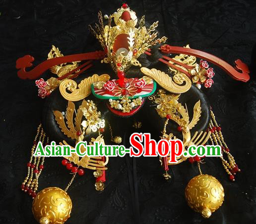 Traditional Chinese Handmade Tang Dynasty Queen Phoenix Coronet Hairpins Ancient Imperial Empress Hair Accessories for Women