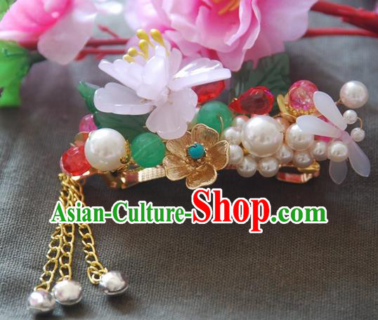 Handmade Chinese Ancient Princess Pearls Lotus Hair Claw Hairpins Headwear Hair Accessories for Women