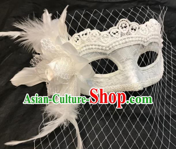 Top Halloween Stage Show Accessories Brazilian Carnival Catwalks White Feather Lace Face Mask for Women