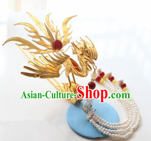 Chinese Handmade Hanfu Hairpins Phoenix Tassel Step Shake Traditional Ancient Princess Hair Accessories for Women