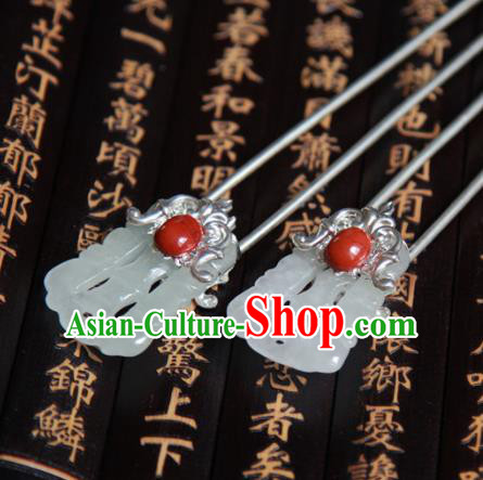 Chinese Handmade Hanfu Jade Hair Clip Hairpins Traditional Ancient Princess Hair Accessories for Women