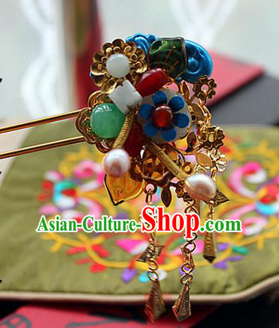 Chinese Handmade Hanfu Agate Hair Clip Hairpins Traditional Ancient Princess Hair Accessories for Women