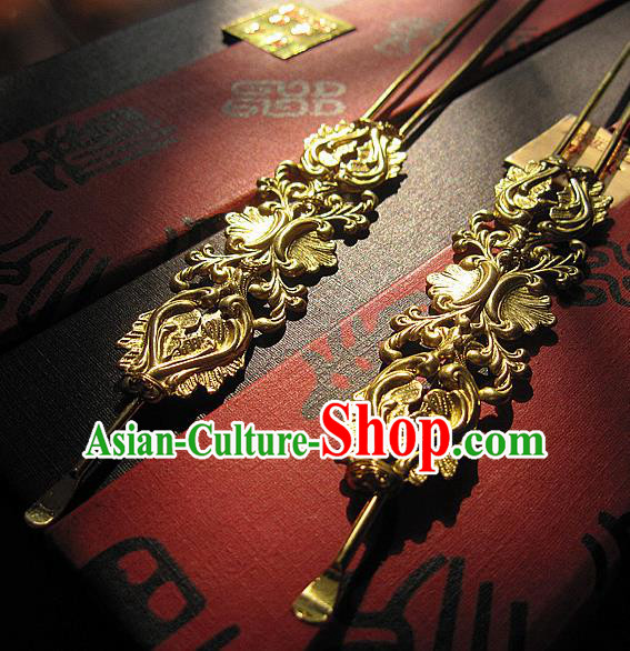 Chinese Handmade Hanfu Golden Hair Clip Hairpins Traditional Ancient Princess Hair Accessories for Women