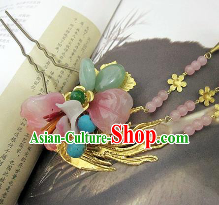 Chinese Handmade Hanfu Pink Flower Jade Hair Clip Hairpins Traditional Ancient Princess Hair Accessories for Women
