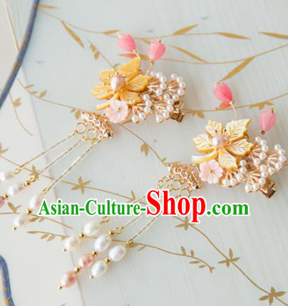 Chinese Handmade Hanfu Tassel Hair Claws Hairpins Traditional Ancient Princess Hair Accessories for Women