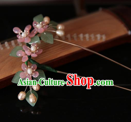 Chinese Handmade Hanfu Flowers Hairpins Tassel Hair Clip Traditional Ancient Princess Hair Accessories for Women