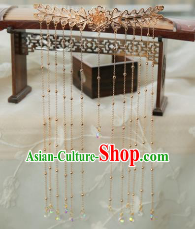 Chinese Handmade Hanfu Golden Hairpins Tassel Step Shake Traditional Ancient Princess Hair Accessories for Women