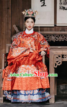 Chinese Ancient Ming Dynasty Royal Queen Wedding Hanfu Dress Traditional Imperial Empress Embroidered Red Historical Costume for Women