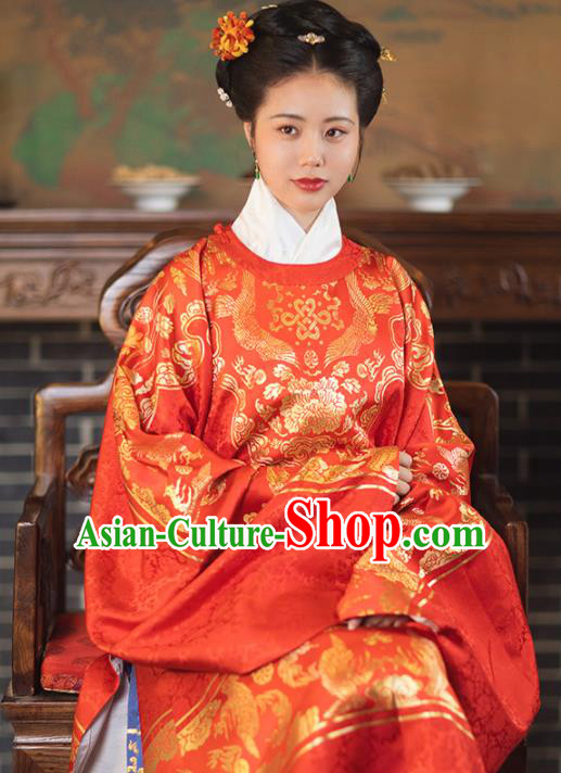 Chinese Ancient Ming Dynasty Wedding Red Hanfu Dress Traditional Imperial Dowager Embroidered Historical Costume for Women