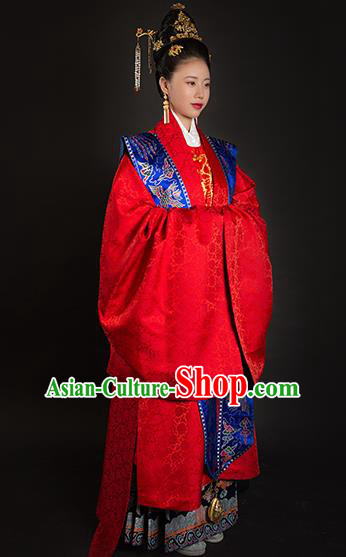 Traditional Chinese Ancient Ming Dynasty Imperial Empress Wedding Red Embroidered Historical Costume and Headpiece Complete Set