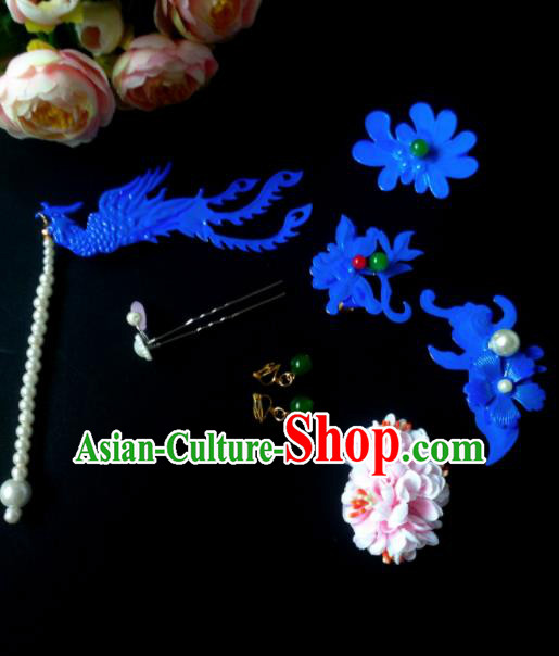 Chinese Handmade Hanfu Palace Blue Phoenix Hair Clip Hairpins Traditional Ancient Princess Hair Accessories for Women