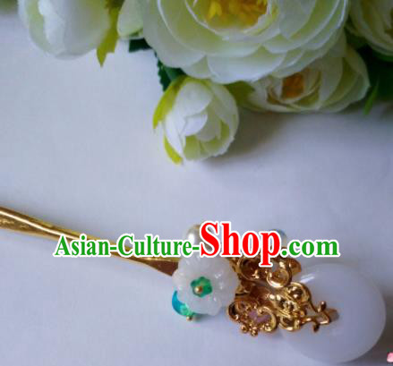 Chinese Handmade Hanfu Palace Hairpins Jade Hair Clip Traditional Ancient Princess Hair Accessories for Women