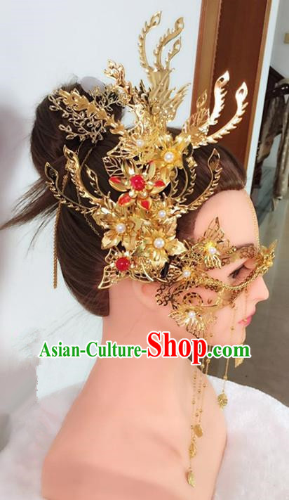 Chinese Handmade Hanfu Princess Wedding Accessories Ancient Swordswoman Golden Face Mask for Women
