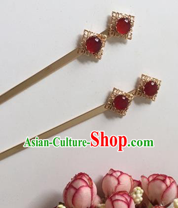 Chinese Handmade Tang Dynasty Hanfu Agate Hairpins Traditional Ancient Imperial Consort Hair Accessories for Women