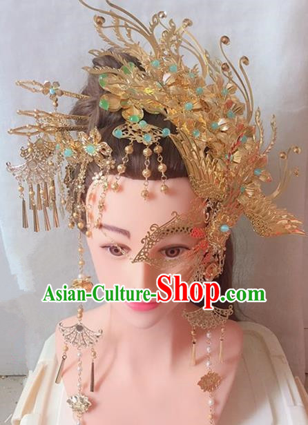 Traditional Chinese Handmade Phoenix Coronet Tang Dynasty Hanfu Hairpins Ancient Imperial Consort Hair Accessories for Women