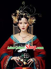 Traditional Chinese Handmade Tassel Phoenix Coronet Hanfu Hairpins Ancient Imperial Consort Hair Accessories for Women