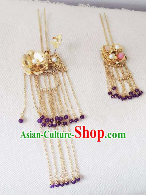 Traditional Chinese Handmade Tassel Hair Clip Hanfu Golden Hairpins Ancient Imperial Consort Hair Accessories for Women
