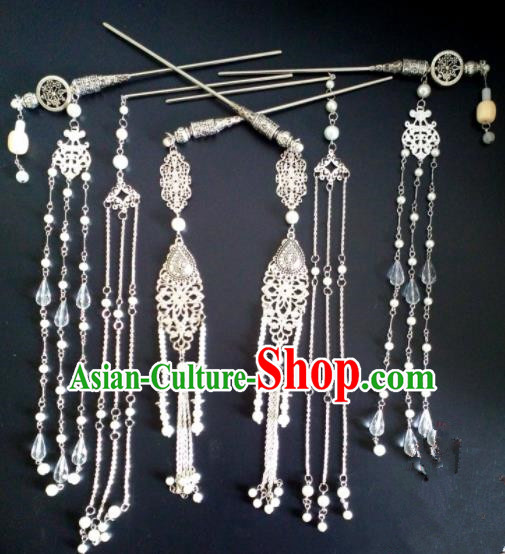 Chinese Handmade Hanfu Palace Tassel Step Shake Hairpins Traditional Ancient Princess Hair Accessories for Women