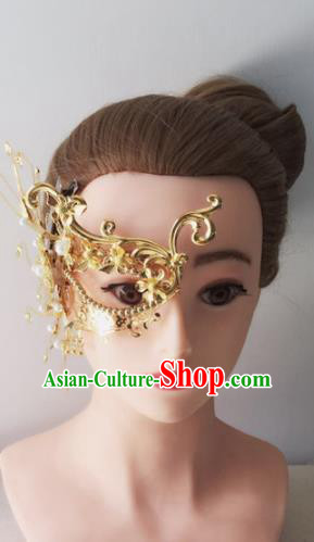 Chinese Handmade Hanfu Princess Accessories Ancient Swordswoman Golden Face Mask for Women