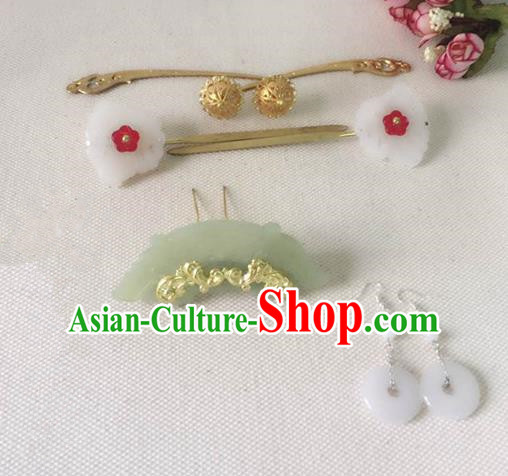 Handmade Chinese Traditional Hanfu Jade Hair Clip Hairpins Ancient Tang Dynasty Princess Hair Accessories for Women