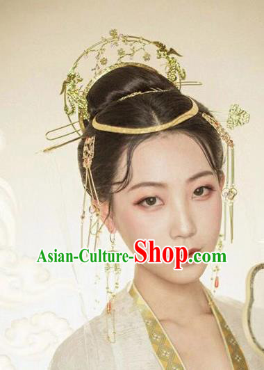 Chinese Handmade Hanfu Tang Dynasty Hairpins Phoenix Coronet Traditional Ancient Imperial Consort Hair Accessories for Women