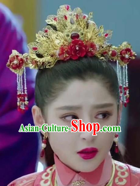 Chinese Handmade Hanfu Sui Dynasty Phoenix Coronet Hairpins Traditional Ancient Imperial Consort Hair Accessories for Women