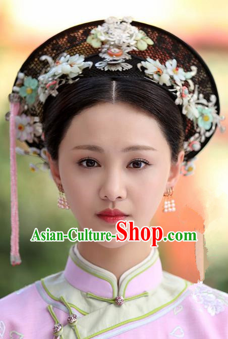 Chinese Handmade Hanfu Qing Dynasty Palace Hat Traditional Ancient Imperial Consort Hair Accessories for Women